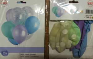 Balloons - bag - Balloons with 3 clear - confetti (clear, blue, green)